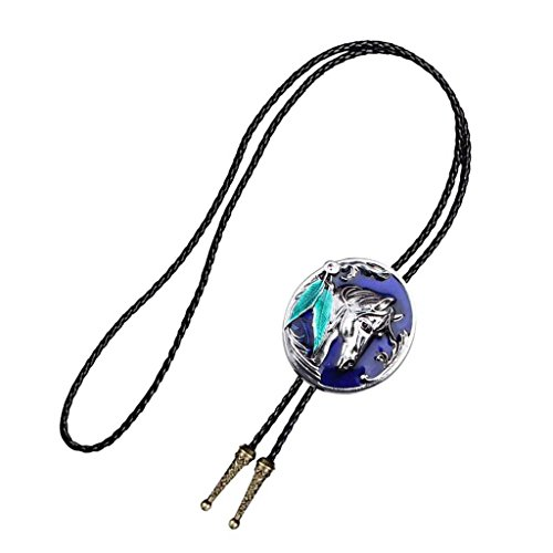 Baoblaze Collar de Gargantilla Hombre Estilo Vintaje Corbata Clásica de Vaquero Lazo Occidental de Bolo Regalo para Fiesta Boda Cumpleaños - Azul