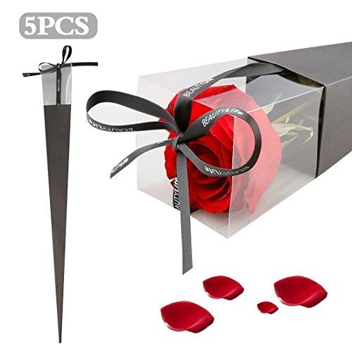 A-szcxtop Elegante Wrap Paket Geschenk-Box 5x Halter Single Rose Box mit Klar PVC & Spitzenband Papier Paket Gebrauch für Hochzeit, Party, Valentinstag, Geburtstage. Festival (rot)..., schwarz, - Wrap-halter Papier