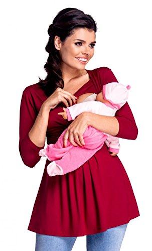 zeta-ville-damen-zweilagiges-still-top-fur-schwangerschaft-3-4-armeln-945c-purpur-eu-38-40-l