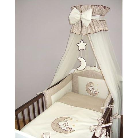 Luxury Baby-Culla/letto a baldacchino Zanzariera 480 cm-Supporto per canna da pesca, a forma di luna, colore: beige