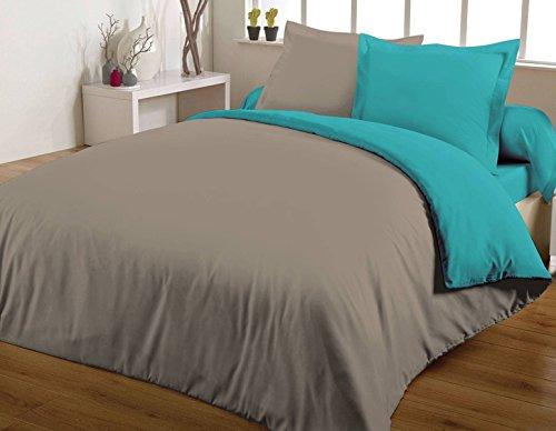 Maxi housse de couette bicolore 240X260 100% coton 57 fils Turquoise/Taupe