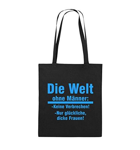 Comedy Bags - Die Welt ohne Männer - keine Verbrechen nur dicke Frauen - Jutebeutel - lange Henkel - 38x42cm - Farbe: Schwarz / Pink Schwarz / Blau