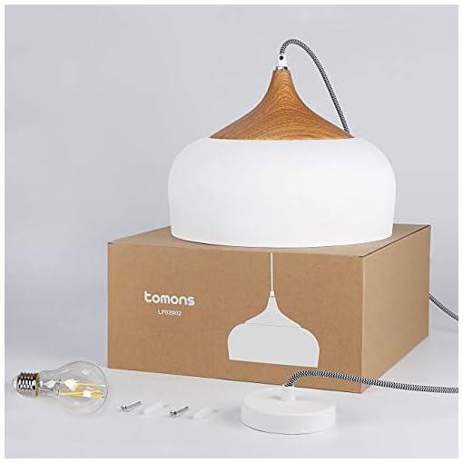 tomons Lampada a Sospensione industriale, LED Vintage Lampada Elegante da Soffitto, Corpo Metallo, Nero Esterno, Oro interno, Lampadine E27