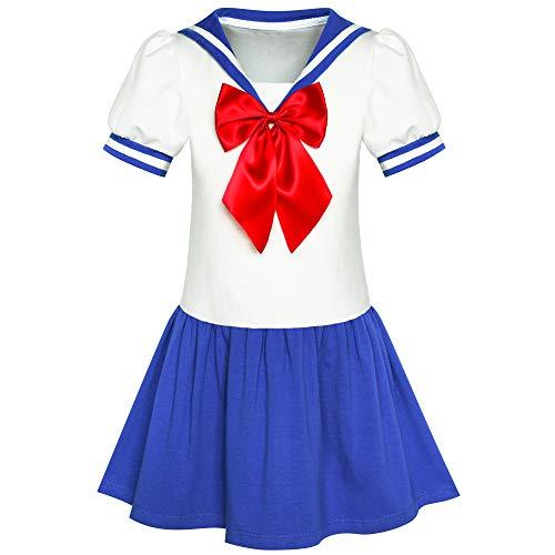 Marine Kostüm Kind Uniform - Sunboree Mädchen Kleid Matrose Mond Cosplay Schule Uniform Marine Passen Gr. 146
