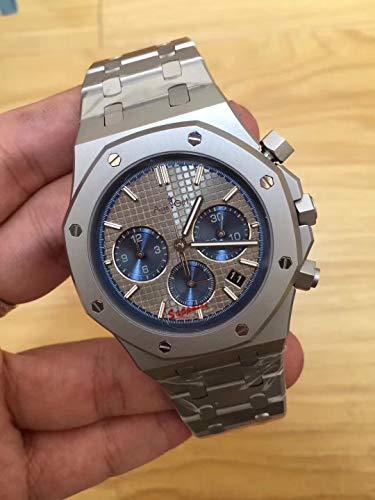 WDXDP Uhr Top Luxury Herrenuhr Quarz Chronograph Saphir Edelstahl Zurück Glas Luminous Black BluePink
