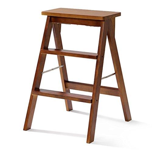 WSSF- Escabeau en bois solide tabouret escabeau ménager Tabouret simple moderne chaise pliante portative / tabouret avec bande de roulement sécurité antidérapante multifonctions Creative cuisine haut banc de tabouret, 40 * 20 * 64cm