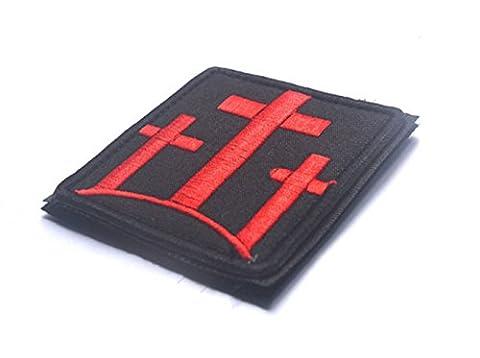 aquiver bestickt Nähen auf/Eisen auf Patch Jesus Christus Kreuz Patch rot