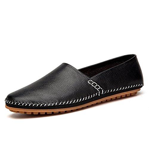 AFFINEST Männer Volltonfarbe Leder Slipper Loafer Schuhe Auto Fahren(EUR40 Schwarz) (Leder Rock Tragen)