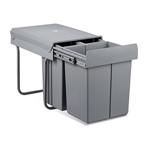 Relaxdays Mülltrennsystem 40 Liter, HxBxT: 41,8 x 34,2 x 48 cm, 3 Mülleimer, Deckel, für Küche, Kunststoff, Metall, Grau