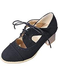 e1d3b593 Daytwork Mujer Ata para Arriba Oxford Zapatos - Mujer Clásico Cabeza Redonda  Exquisito Tallado Cómodo Suela