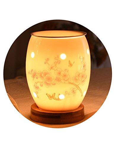 Keramik-Plug-in Strom Aromatherapie Lampe geeignet für Aromatherapie ätherische Öle Lampe - Schlafzimmer Nachtlicht Hohl geraucht Herd - Dimming Aroma Lampe Tischlampe (Farbe : K) - öl-brenner Elektrische