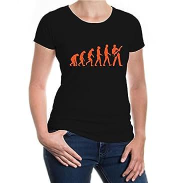 Girlie T-Shirt The Evolution of guitar-XS-Black-Orange