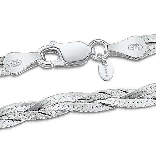 Amberta 925 Sterlingsilber Halskette - Herringbone Kette - Fischgrätkette - 5 mm Breite - Verschiedene Längen: 45 50 cm (45cm)