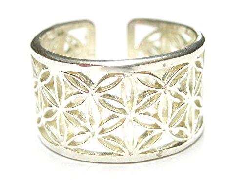 Bandring offen Motiv Blume des Lebens, Gr. 58, aus 925% Sterling Silber filigran gearbeitet, Ring, Schmuck Damen, Silber, Glücksbringer