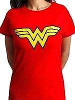 Wonder Woman Logo Classic Licensed DC Comics Justice League Womens Red T-shirt