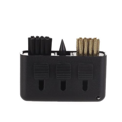 3-in-1 Golf Brush Groove Cleaner Pocket Size Plastic Club Kit Tool Black