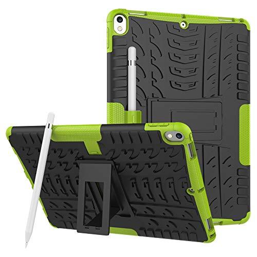 Kybers_Tablet Case Kybers Stoßfeste Gummi-Schutzhülle für iPad Air 26,7 cm / 10,5 Zoll 2019 / Pro mit Standfunktion, stoßfest, Unisex, grün (Air 2 Ipad Logitech Tastatur-pink)