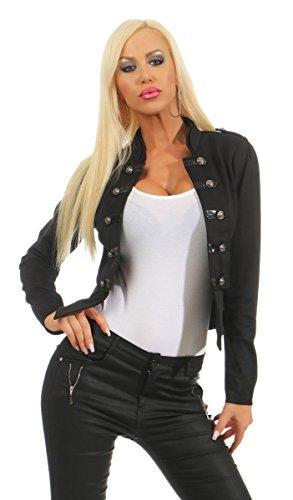 Fashion4Young 10218 Damen Kurzjacke Blazer Jäckchen Jacke Army-Look Military-Style Stehkragen (schwarz, L/XL=38/40)
