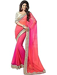 Beautifull Pink & Orange Colored Designer Saree With Attrective Blouse By Sarees Creation(Free_Size)