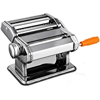Sailnovo Pasta Maker Machine Noodle Maker Machine Cutter Stainless Steel Manual,Fresh Pasta Making Machine, Red Pasta Dough Roller with Suction Base, Hand Crank and Clamp for Spaghetti and Lasagna Tagliatelle Fettuccine, 2 Blades (SILVER)