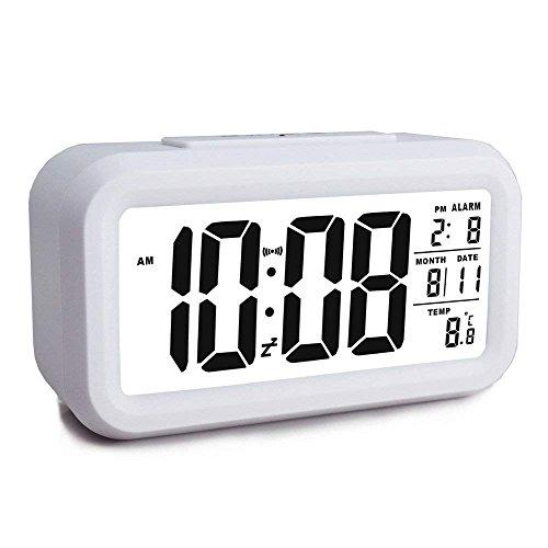 MUTANG Despertador Digital Inteligente Escritorio Grande 4.6\'\' Pantalla LCD Despertador con Temperatura de Calendario Snooze Luz de Fondo Multicolor (Color : Blanco)