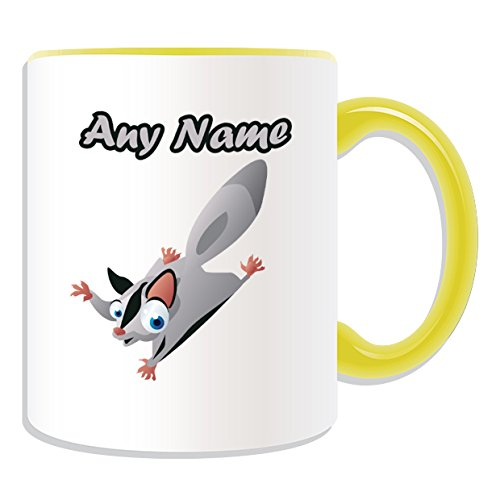 Personalisiertes Geschenk–big-eye Sugar Glider Becher (Animal Design Thema, Farbe Optionen)–alle Nachricht/Name auf Ihre einzigartige Tasse–Flying Eichhörnchen, keramik, Gelb (Farben Sugar Glider)