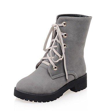 Sanmulyh Femmes Chaussures D'hiver Leatherette Fight Bottes Bottes Bottines Bout Rond Mi-mollet Bottes Pour Vêtements De Loisirs Vert Gris Noir Gris