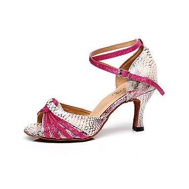 Scarpe da ballo-Da donna-Balli latino-americani-A stiletto-Di pelle-Rosa Peach