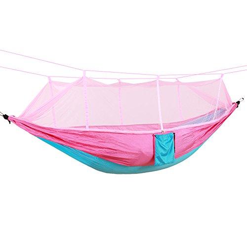 WLHW Hängematte Travel Bug Net Camping 205kg Tragfähigkeit 260 X 140 cm Atmungsaktiv Schnell Trocknend Fallschirm Nylon Slings Enthalten für Outdoor Indoor Garden Blue Powder (Größe : 280x150cm)
