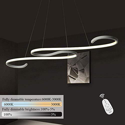 Baldachin Höhenverstellbare Leuchte (GBLY LED Pendelleuchte Esstisch 36W Dimmbar Hängeleuchte weiß Pendellampe modern Hängelampe Höhenverstellbar Leuchte für Büro Esszimmer Kurve Design mit Fernbedienung)