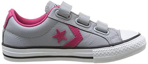 Converse, Star Player Junior 3V Leather Ox, Sneaker, Unisex - bambino grigio (Grau (12 Gris))