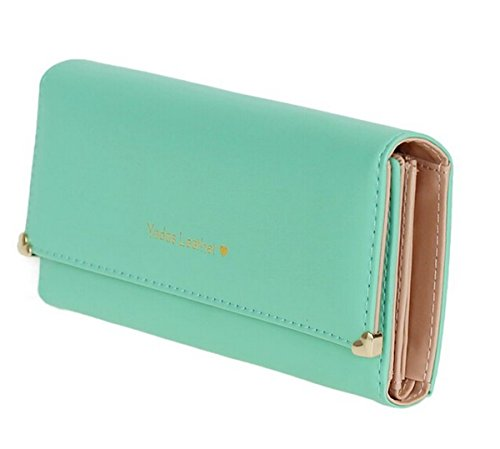 Jastore® PU Leder Geldbörse Süß Kreditkarte Koffer Damen Portemonnaie (Grün)