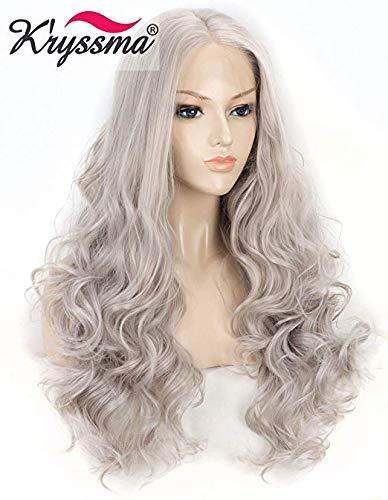 K'ryssma Ash Grey Lace Front Perücke mit Mittelteil lang gewellt Synthetik Perücke für Frauen halb-handgebunden lang grau Haar Perücke hitzebeständig 55,9 cm -