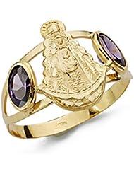 Sortija oro 18k Virgen del Rocío piedras color [AA0440]