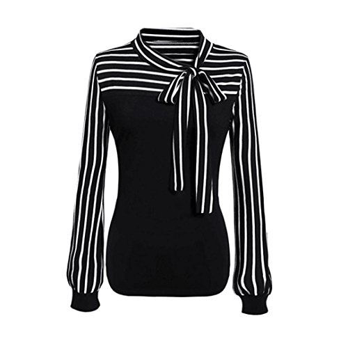 OVERDOSE Frauen Tie-Bow Neck Striped Langarm Spleiß Shirt Bluse Damen Frühling Sommer Hemd T-Shirt Oberteil (A-Black,M)