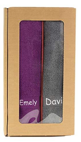 Feiner-Tropfen Handtuch Set lila grau mit Namen personalisiert Bestickt lg