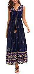 DGMYG Damen Sommerkleid Ärmellos Boho A-Line Lang Kleid Maxikleid Party Strandkleid Blau-D14 S