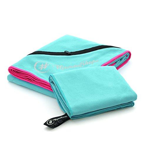 2er-Set Premium Mikrofaser Handtücher | 70x140 + 40x60 cm | saugfähig, leicht und schnelltrocknend | Sport- und Badehandtücher mit Ecktasche | Ideal für Fitness, Yoga, Sauna, Outdoor, Reise (Badetuch Frauen)