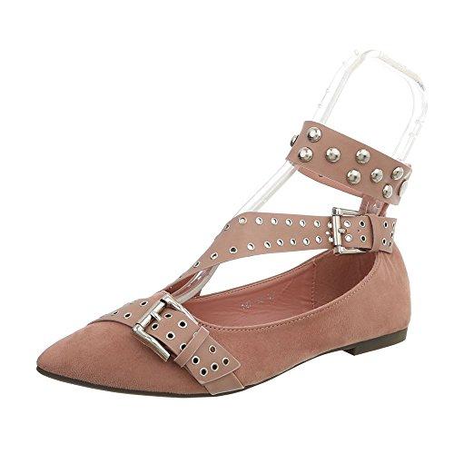 Ital-Design Zapatos Para Mujer Bailarinas Tacón Ancho