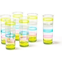 Leonardo Rainbow - Juego de vasos grandes, 6 unidades, color azul, rosa y amarillo