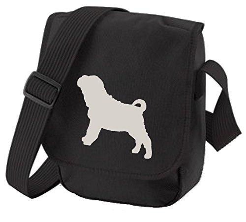 Bag Pixie ,  Unisex Erwachsene Umhängetaschen Grey Dog Black Bag