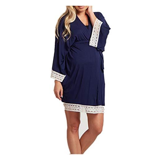 (Amphia - Schwangere Frauen-Pyjamas - Damen Spitzenseitenkleid + Gürtel - Frauen Umstandskleid Still-Nachthemd Stillen Nachthemd Lace Sleepwear)
