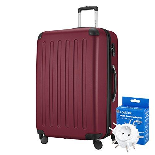 HAUPTSTADTKOFFER® 128 Liter XL Reisekoffer · SPREE · TSA · MATT · (in versch. Farben) + REISEADAPTER (Burgund)