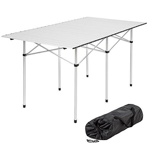 TecTake XXL Aluminium Campingtisch Rolltisch klappbar 140x70x70cm inkl. Tragetasche