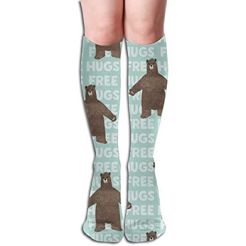 Women's Fancy Design Stocking Free Hugs Bear Dark Mint Multi Colorful Patterned Knee High Socks 19.6Inchs