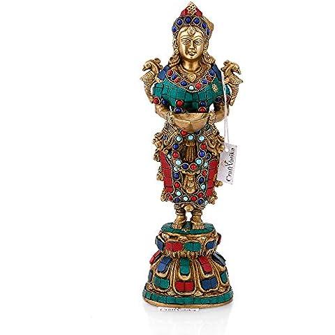 Lady de la India de latón CraftVatika estatua hecha a mano hermosa dama con espiritual Diya Escultura decorativo Showpiece figura decorativa