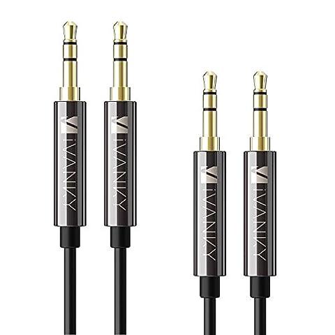 Câble Jack Audio iVanky® Garantie à Vie / 2 Pack - Câble Audio Stéréo 3.5 mm Mâle vers Mâle [TPE Écologique, Extra Durable] pour Apple, Casque, Voiture, Autoradios, Portables, MP3 - 1.2M / Noir