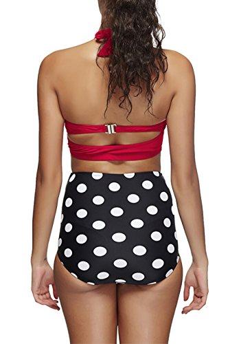 Spring Fever Vintage Damen Push Up Gepolstert Bikini hohe Taille Baden passt Rot / Schwarz