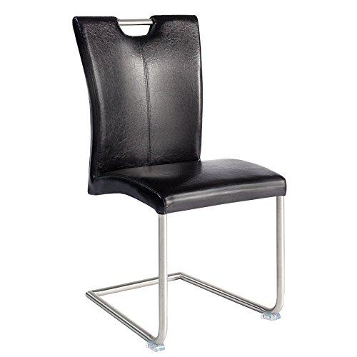 Freischwinger Stuhl BUFFALO Antik schwarz mit Edelstahlgestell Esszimmer Stuhl
