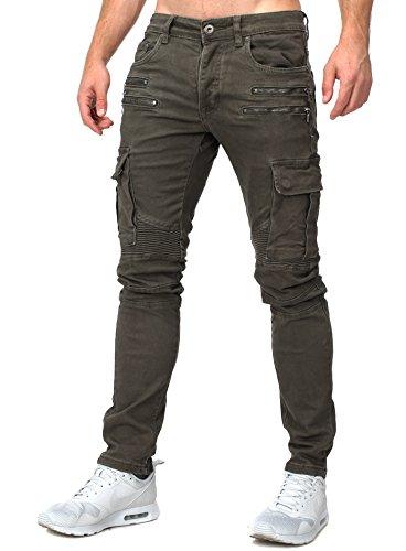 Megastyl Herren Biker Jeans Hose Cargo Taschen Stretch-Denim Slim Fit, Größe:W32 / L32, Farbe:Oliv
